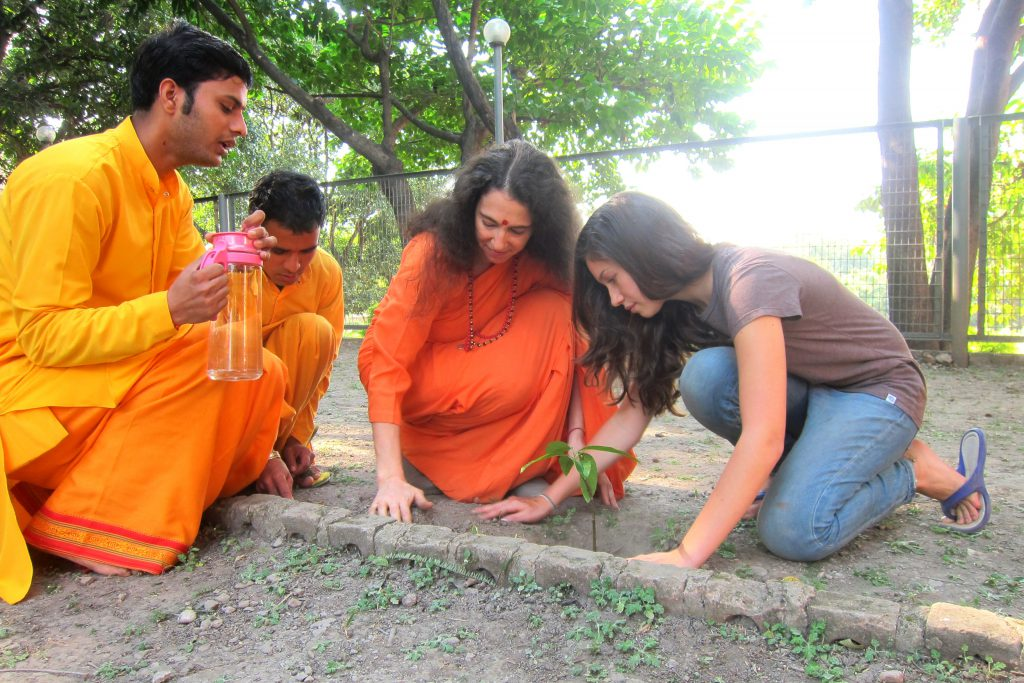 Rachel with friends planting a tree.