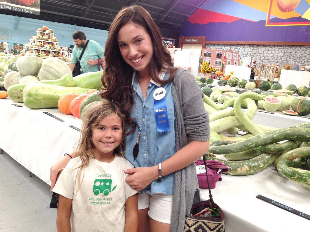 Rachel and child at the Heirloom Expo.