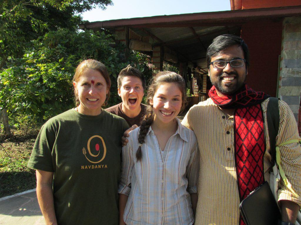 Rachel Parent & friends at the Bija Vidyapeeth (Earth University) Navdanya's Learning Center