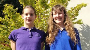 Westmont Montessori's Alexandra (left) and Hannah